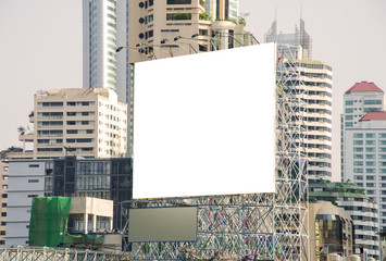 large blank billboard in city view background
