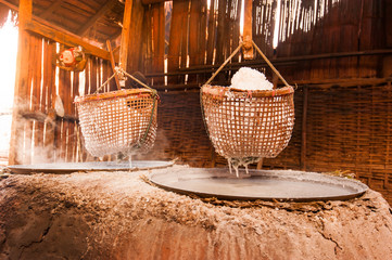 Traditional Salt making in Nan Province Thailand