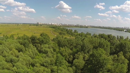 Panorama of  beautiful suburb with  river. Aerial   view