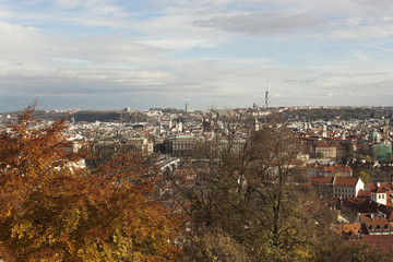 The view of the autumn Prague. Czech Republic