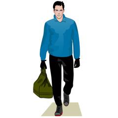 Man in blue sweater