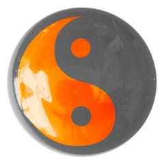 symbole yin yang sur bouton