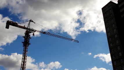 Crane and clouds moving