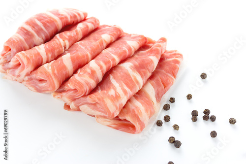sliced beef on white background