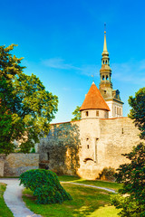 Medieval towers - part of old the city wall. Tallinn, Estonia