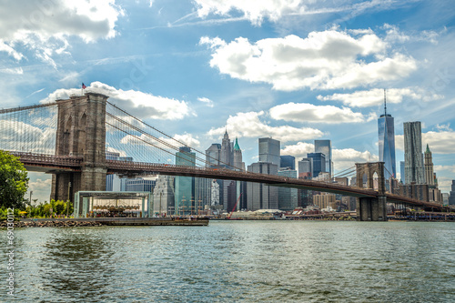 Plexiglas Brooklyn Bridge New York City Brooklyn Bridge Manhattan buildings skyline