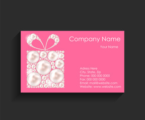 Company Business Card on Black Background.