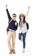 traveling couple feel exciting