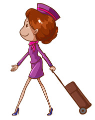 A simple drawing of an air hostess