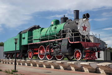 Monument to Russian  locomotive, built in 1949