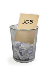 Papierkorb mit Akte - Job