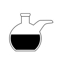 Flat bottom chemical retort on white background