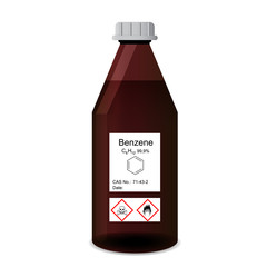 Bottle with chemical toxic and flammable solvent - benzene