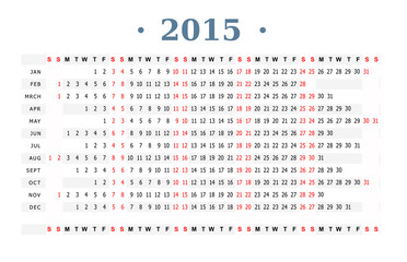Horizontal calendar for year 2015