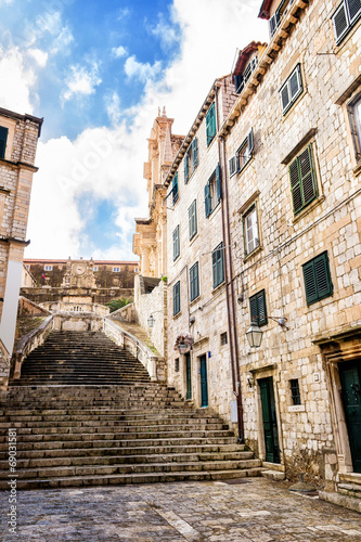 Steep stairs and narrow street in old town of Dubrovnik