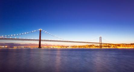 panorama of Lisbon cityscape and Bridge