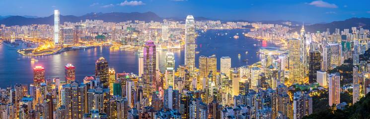 Hong Kong Skyline at Dusk Panorama © vichie81