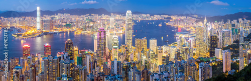 In de dag Aziatische Plekken Hong Kong Skyline at Dusk Panorama