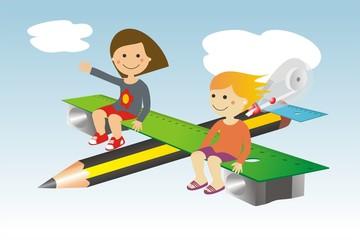Avión y material escolar niñas