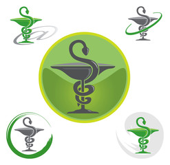 Ensemble d'Icones Pharmacie avec Symbole Caducée - Vert