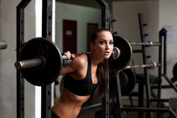Beautiful brunette posing exercising with barbell