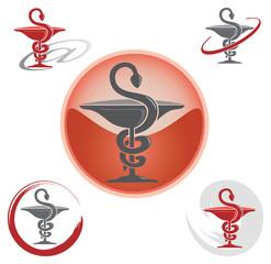 Ensemble d'Icones Pharmacie avec Symbole Caducée - Rouge