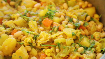 Closeup of vegetable dish sabzi