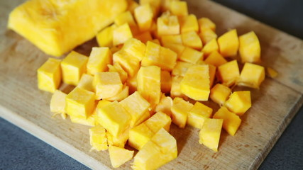 Closeup of cut pieces of pumpkin