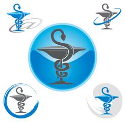 Ensemble d'Icones Pharmacie avec Symbole Caducée - Bleu