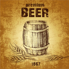 beer keg  for label, package.vintage barrel . wheat ear