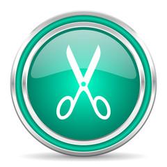 scissors green glossy web icon
