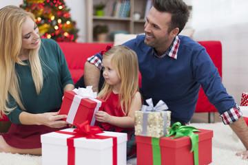 Young family enjoying the Christmas time