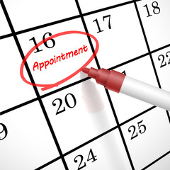 appointment word circle marked on a calendar