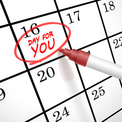 day for you words circle marked on a calendar