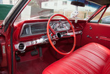 red interior american car from sixities