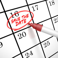 save the date words circle marked on a calendar