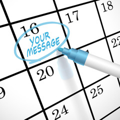 your message words circle marked on a calendar