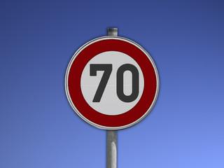 Verkehrsschild Tempo 70