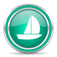 yacht green glossy web icon