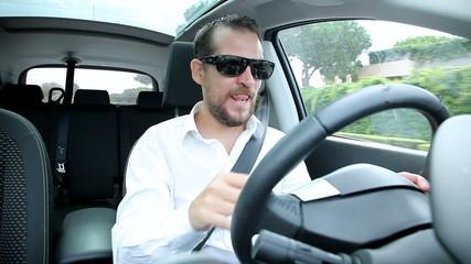 Man taking drug while driving being high