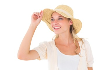 Attractive young blonde smiling in sunhat