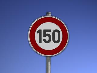 Verkehrsschild Tempo 150