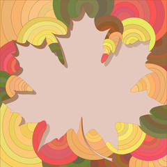 Maple leaf frame with beige background for text or photo