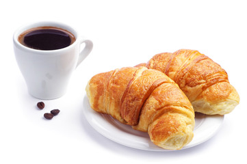 Two croissant and coffee