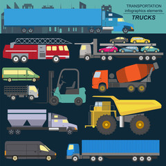Set of elements cargo transportation: trucks, lorry for creating