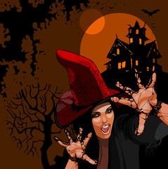 Halloween. Woman witch with hat scares hands at night