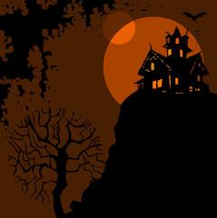 Halloween. Night, silhouette tree,house on the hill
