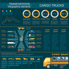 Cargo transportation infographics, trucks, lorry. Elements infog