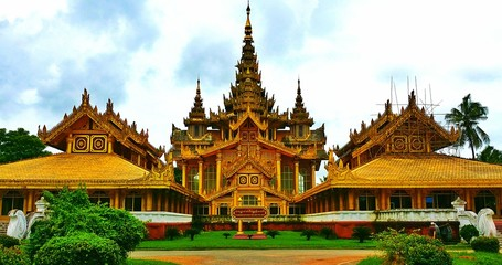 Gold wooden myanmar palace
