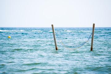 hammock hanged in see water